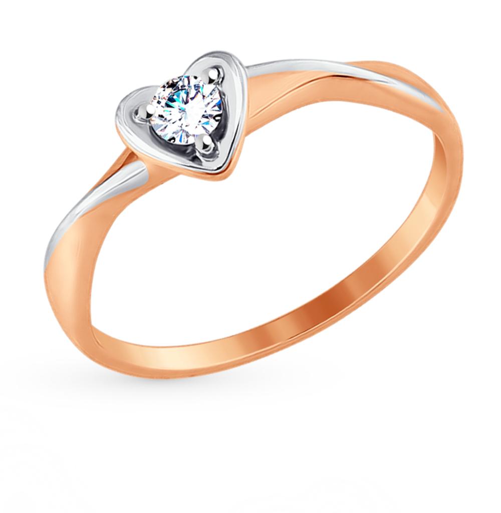 золотое кольцо с фианитами SOKOLOV 017604*