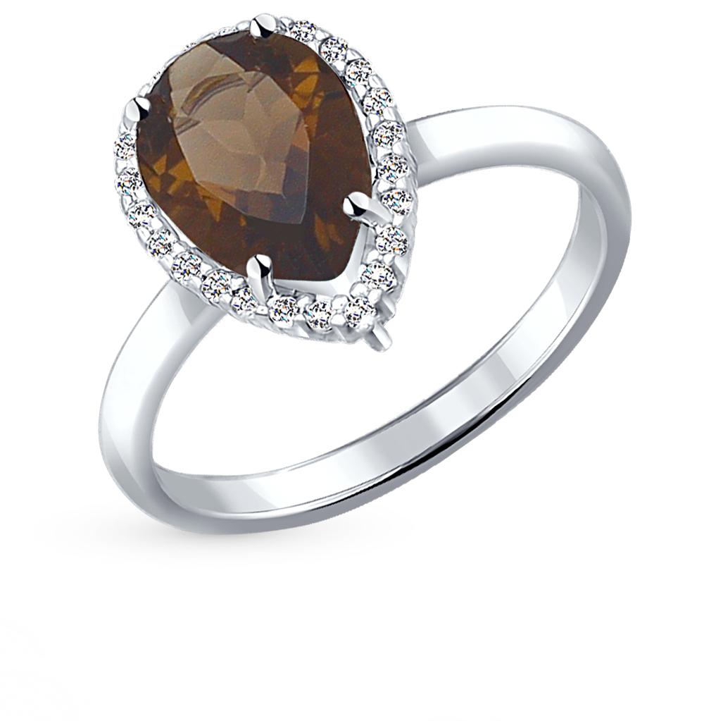 Фото «серебряное кольцо с фианитами и раухтопазами (кварцами дымчатый)»