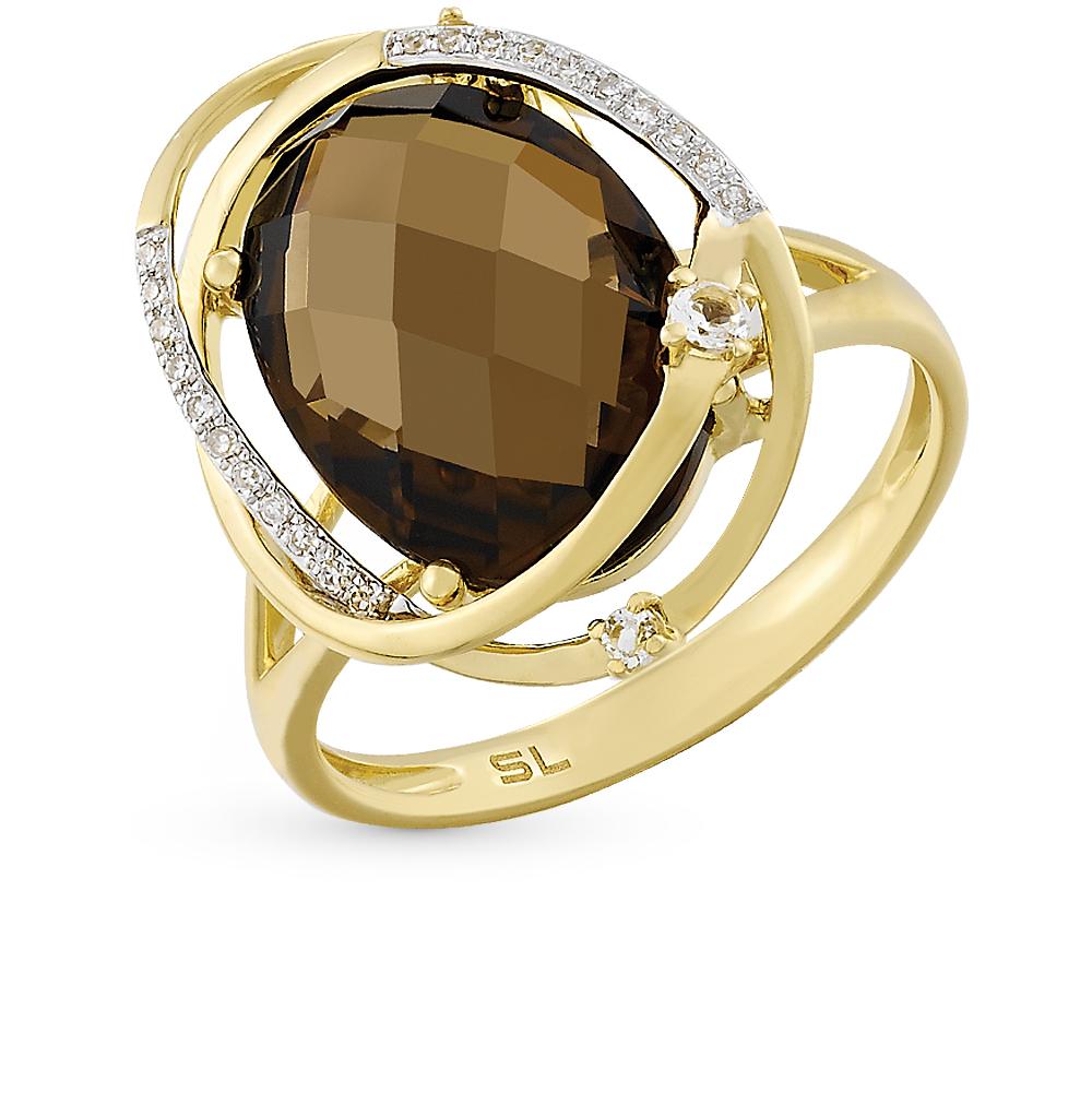 Золотое кольцо с топазом, раухтопазом и бриллиантами