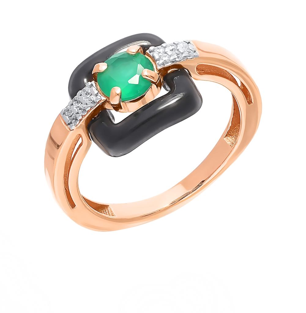 серебряное кольцо с фианитами и агатом