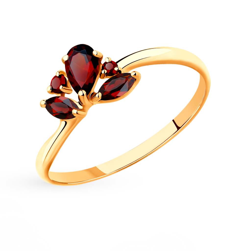 золотое кольцо с гранатом SOKOLOV 715468*
