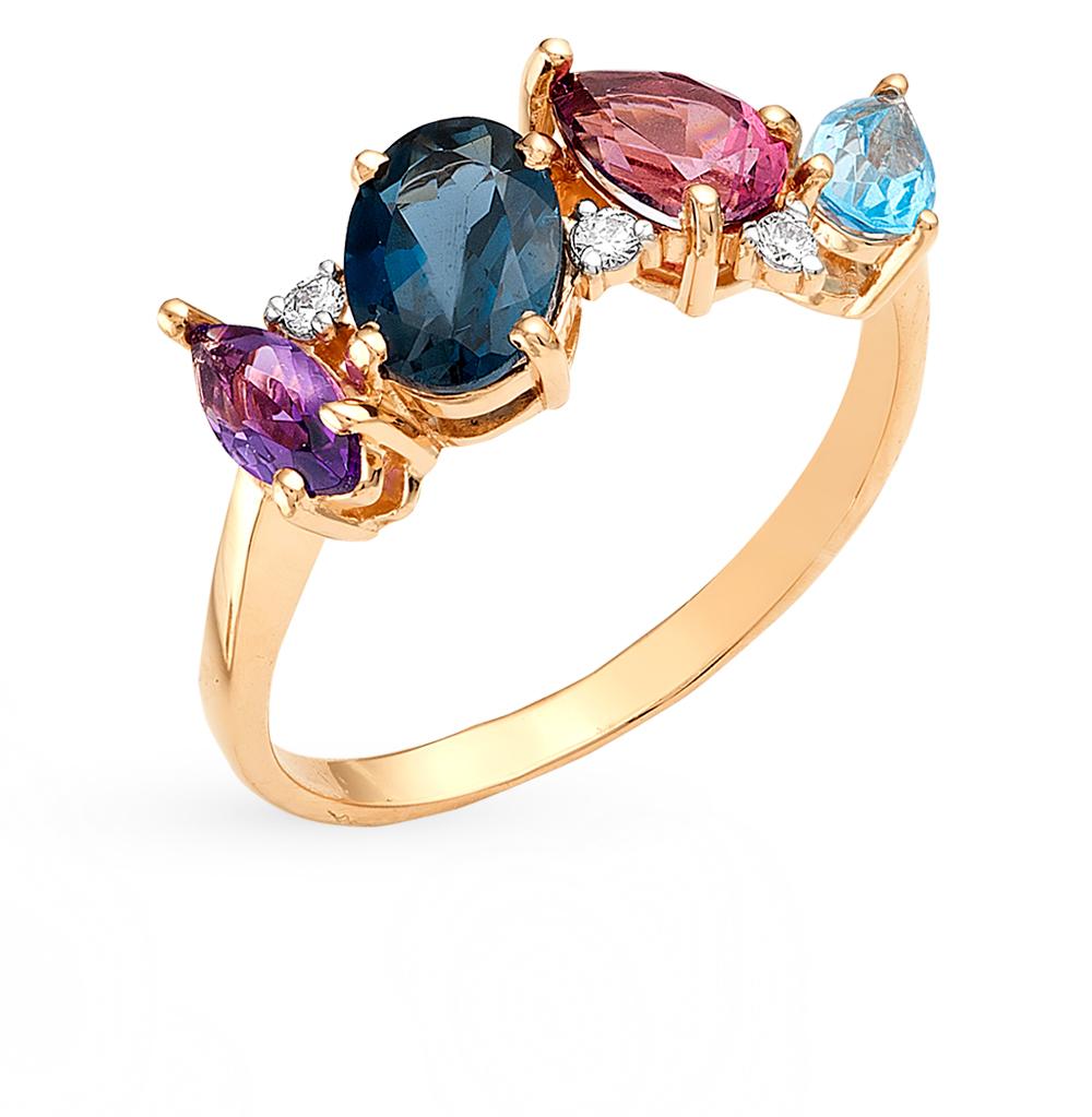 золотое кольцо с родолитами, аметистом, топазами и фианитами