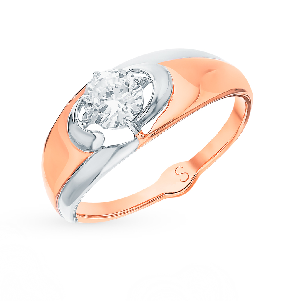 золотое кольцо с фианитами SOKOLOV 017935*