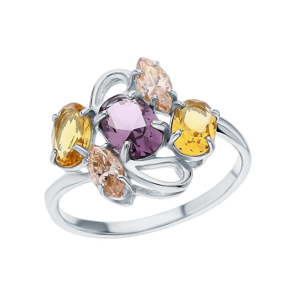 Фото «Серебряное кольцо с морганитами, цитринами синтетическими и аметистами синтетическими»