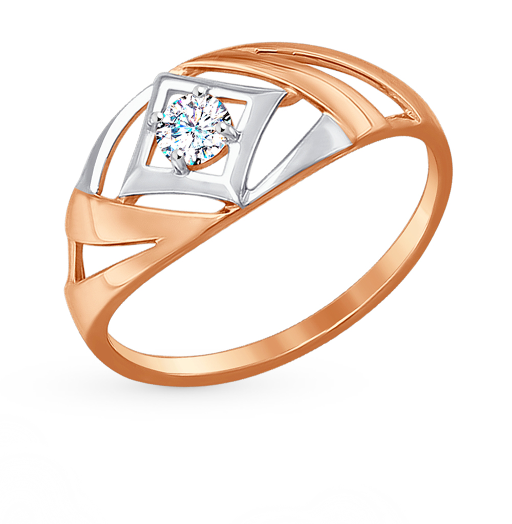 золотое кольцо с фианитами SOKOLOV 017227*