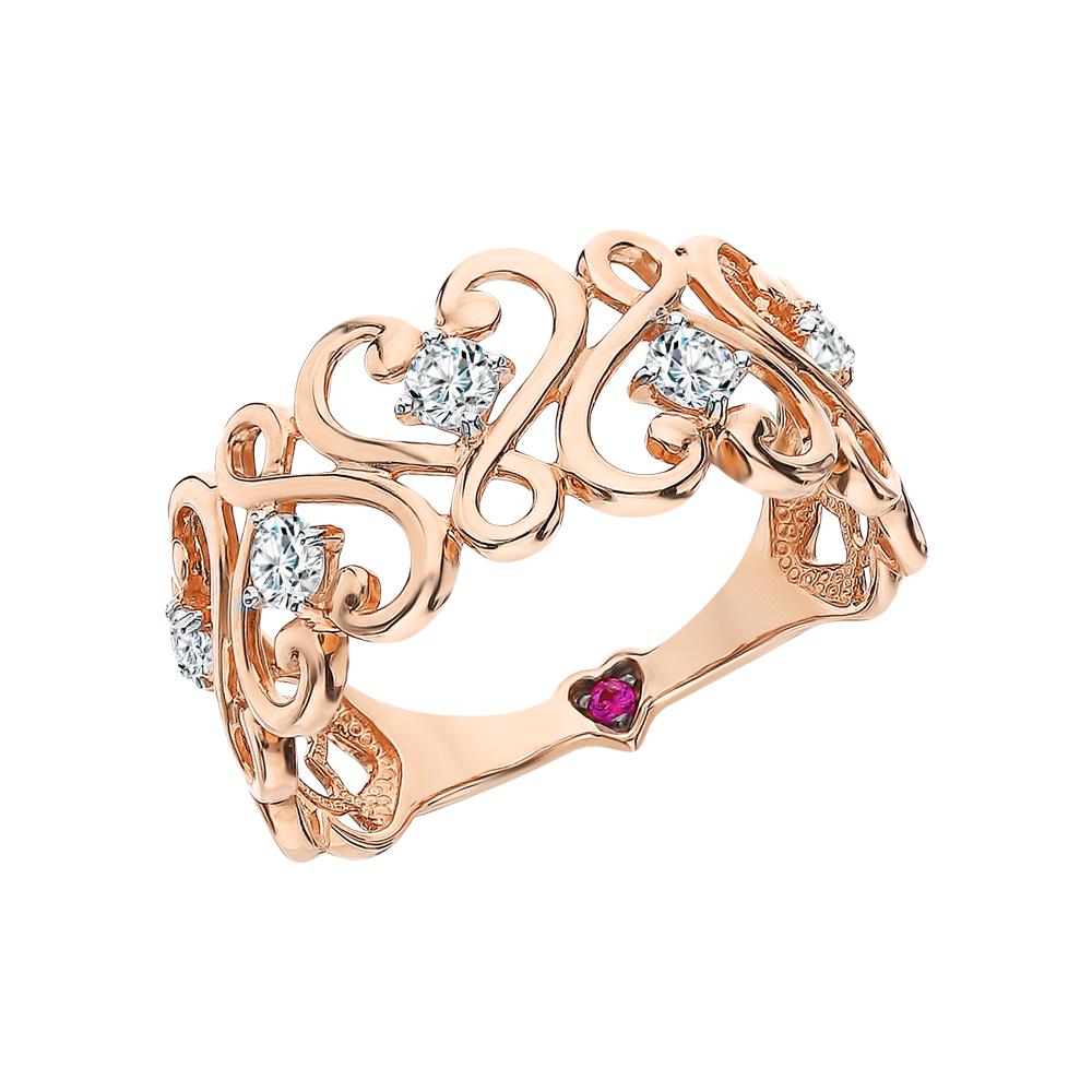 Фото «Золотое кольцо с корундом и фианитами SOKOLOV 017534*»