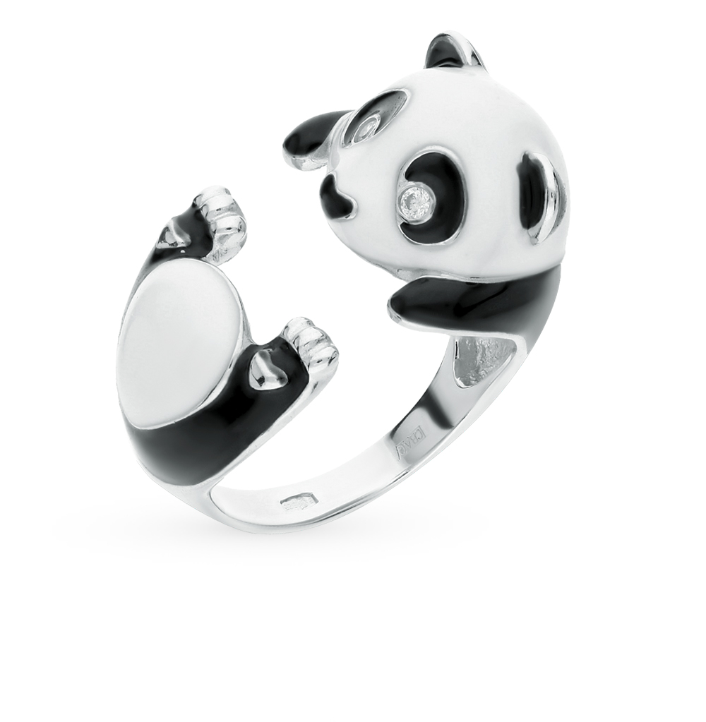 серебряное кольцо с фианитами и эмалью SOKOLOV 94011906