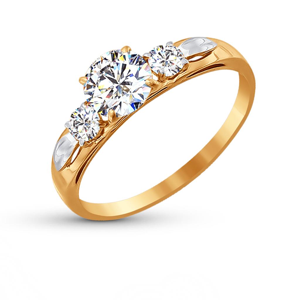 золотое кольцо с фианитами SOKOLOV 81010194*