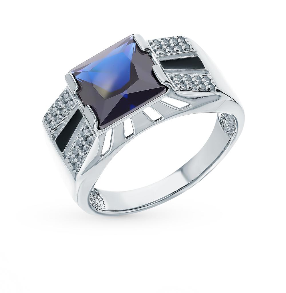 Фото «Серебряное кольцо с фианитами и эмалью SOKOLOV 94011395»