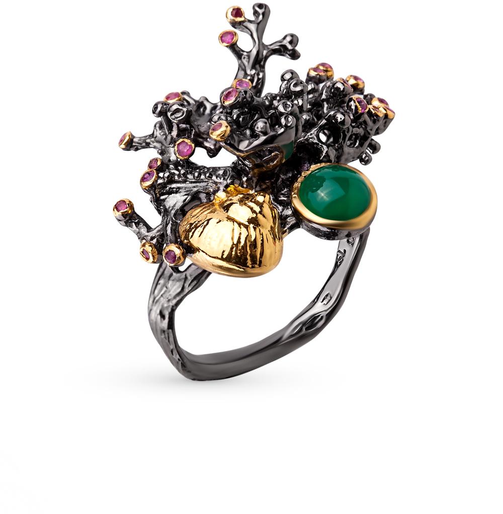 Фото «серебряное кольцо с агатом и рубинами»