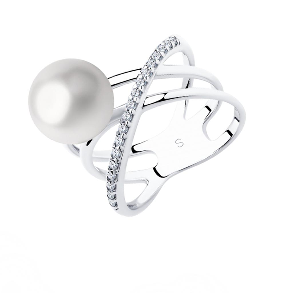 Фото «Серебряное кольцо с фианитами и жемчугом SOKOLOV 94012970»