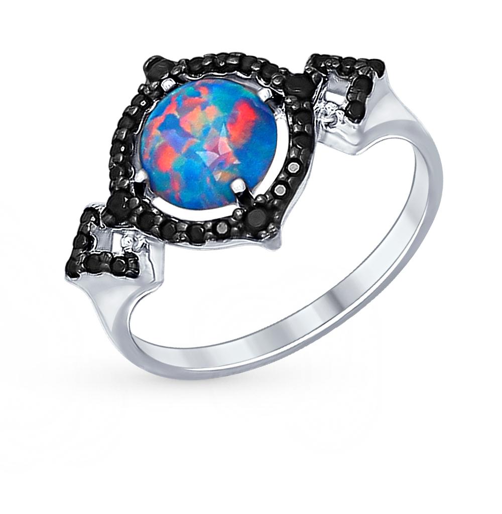 Фото «серебряное кольцо с опалами и фианитами»
