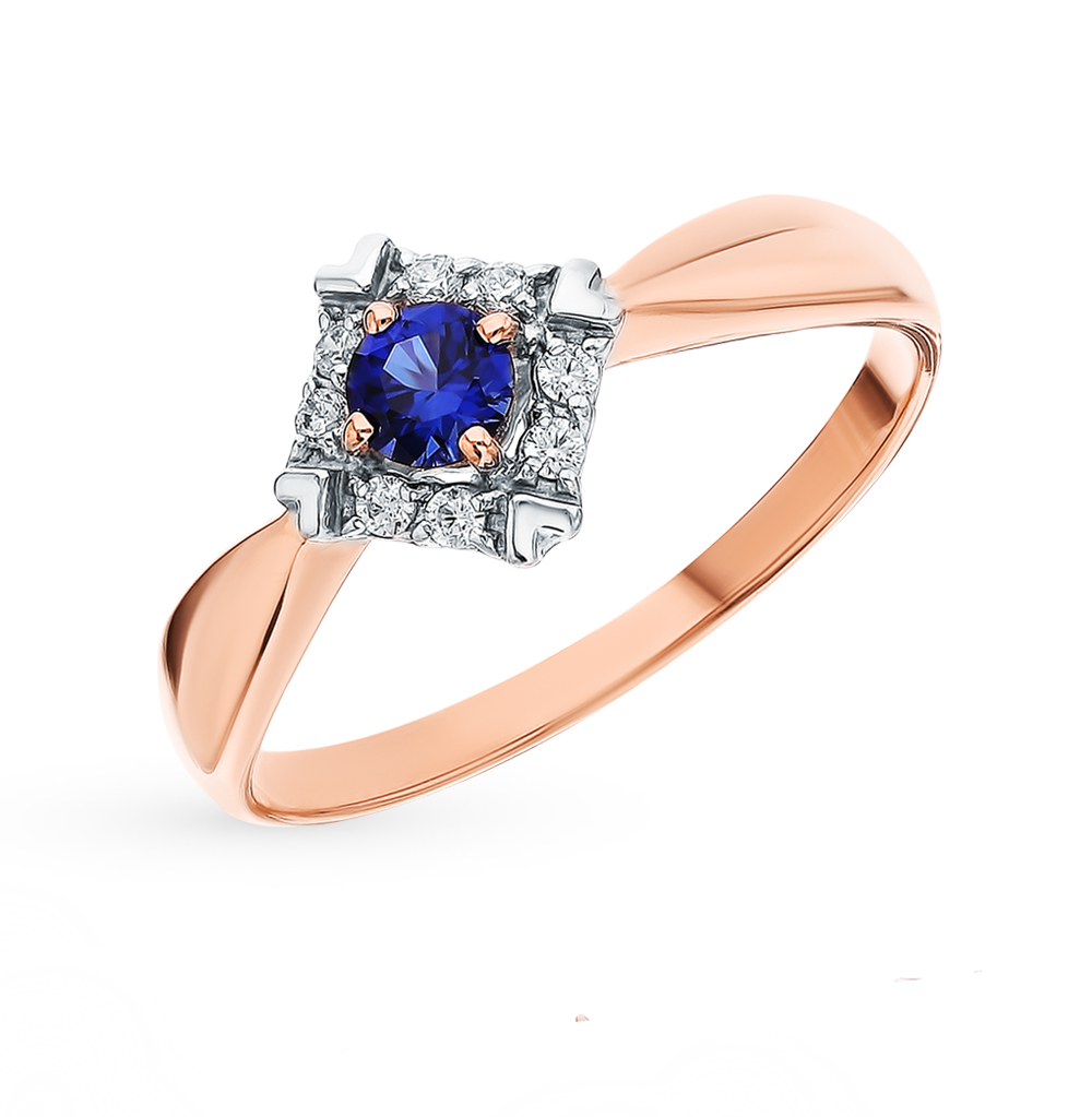 Фото «Золотое кольцо с корундом и фианитами SOKOLOV 715425»