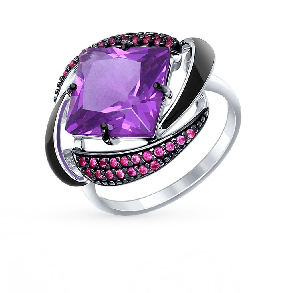 серебряное кольцо с наноситалами, фианитами и эмалью SOKOLOV 92011301