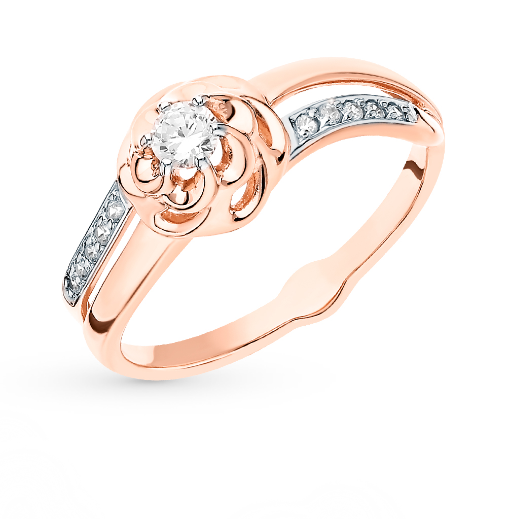 Фото «Золотое кольцо с фианитами SOKOLOV 018255»