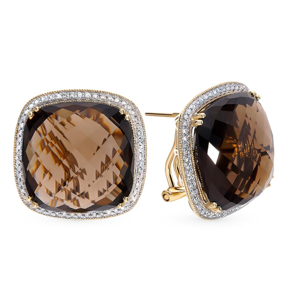 Золотые серьги с раухтопазами и бриллиантами в Екатеринбурге