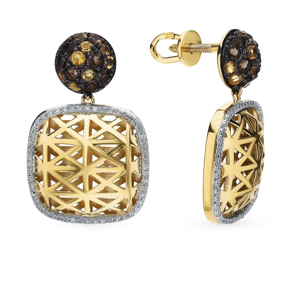 Золотые серьги с раухтопазами, цитринами и бриллиантами в Екатеринбурге