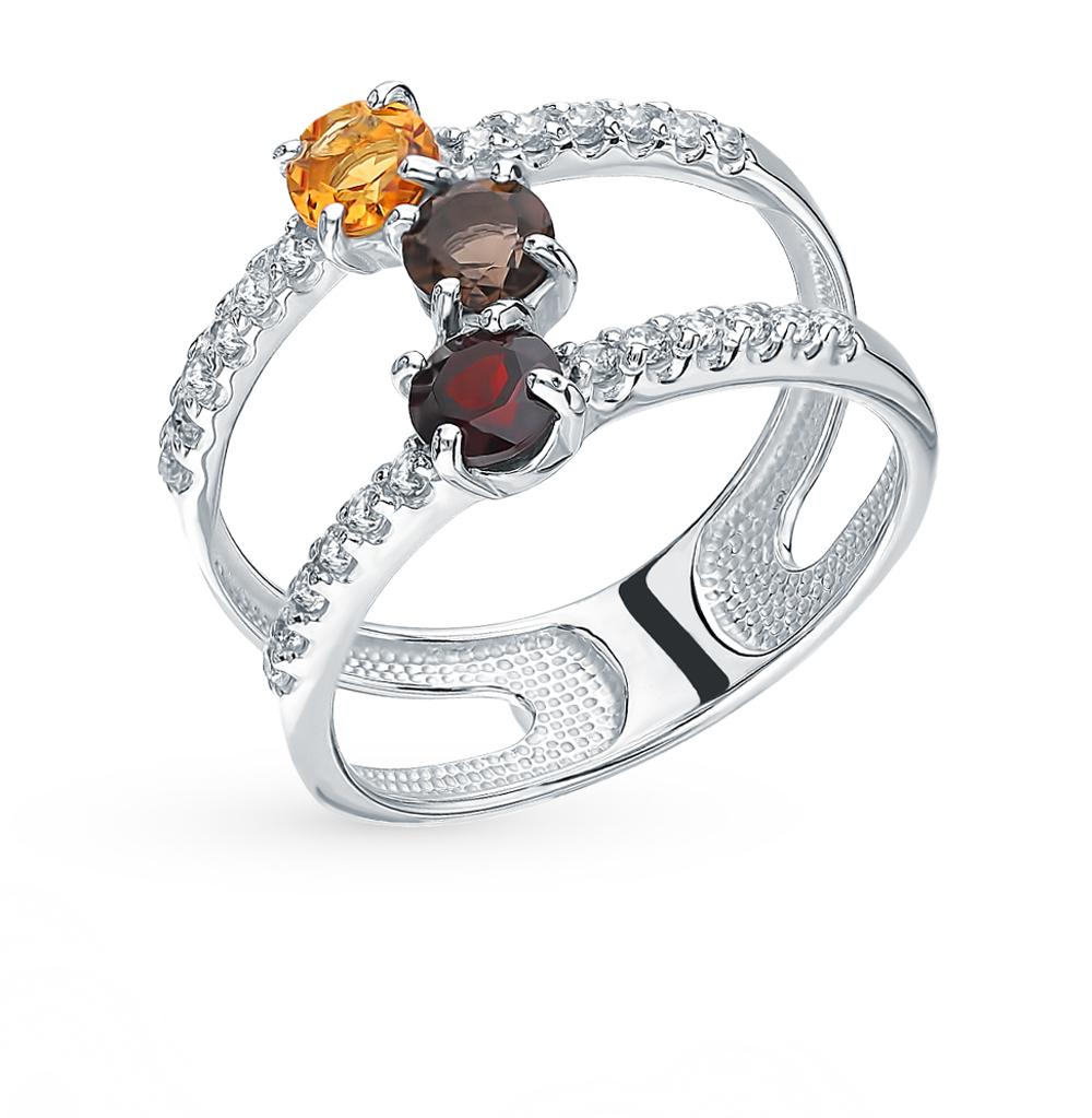 серебряное кольцо с фианитами и цитринами
