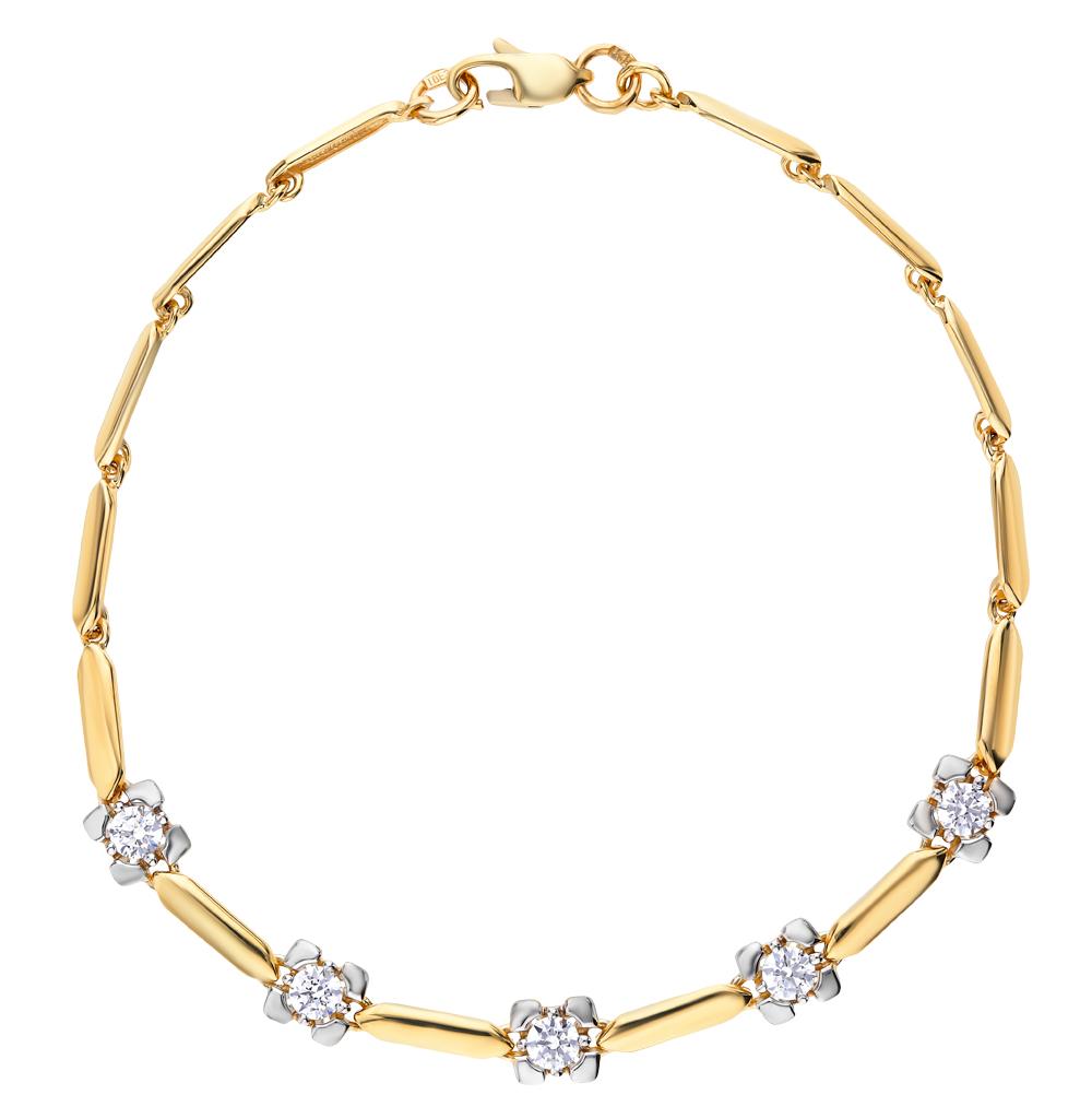 золотой браслет с фианитами SOKOLOV 81050014-2*