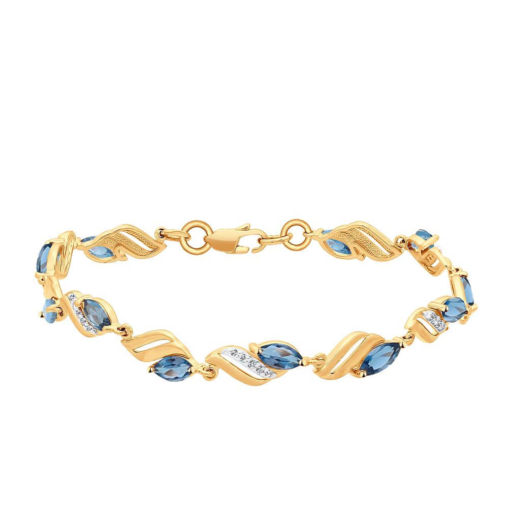 золотой браслет с топазами и фианитами SOKOLOV 750191*