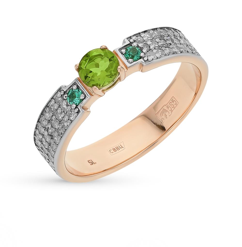 золотое кольцо с султанитами, изумрудами и бриллиантами