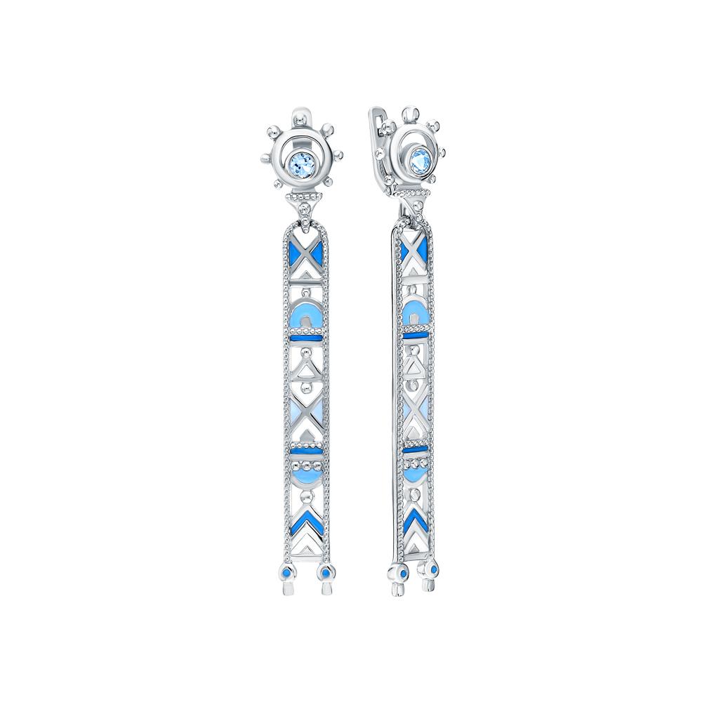 Фото «Серебряные серьги с топазами и эмалью»