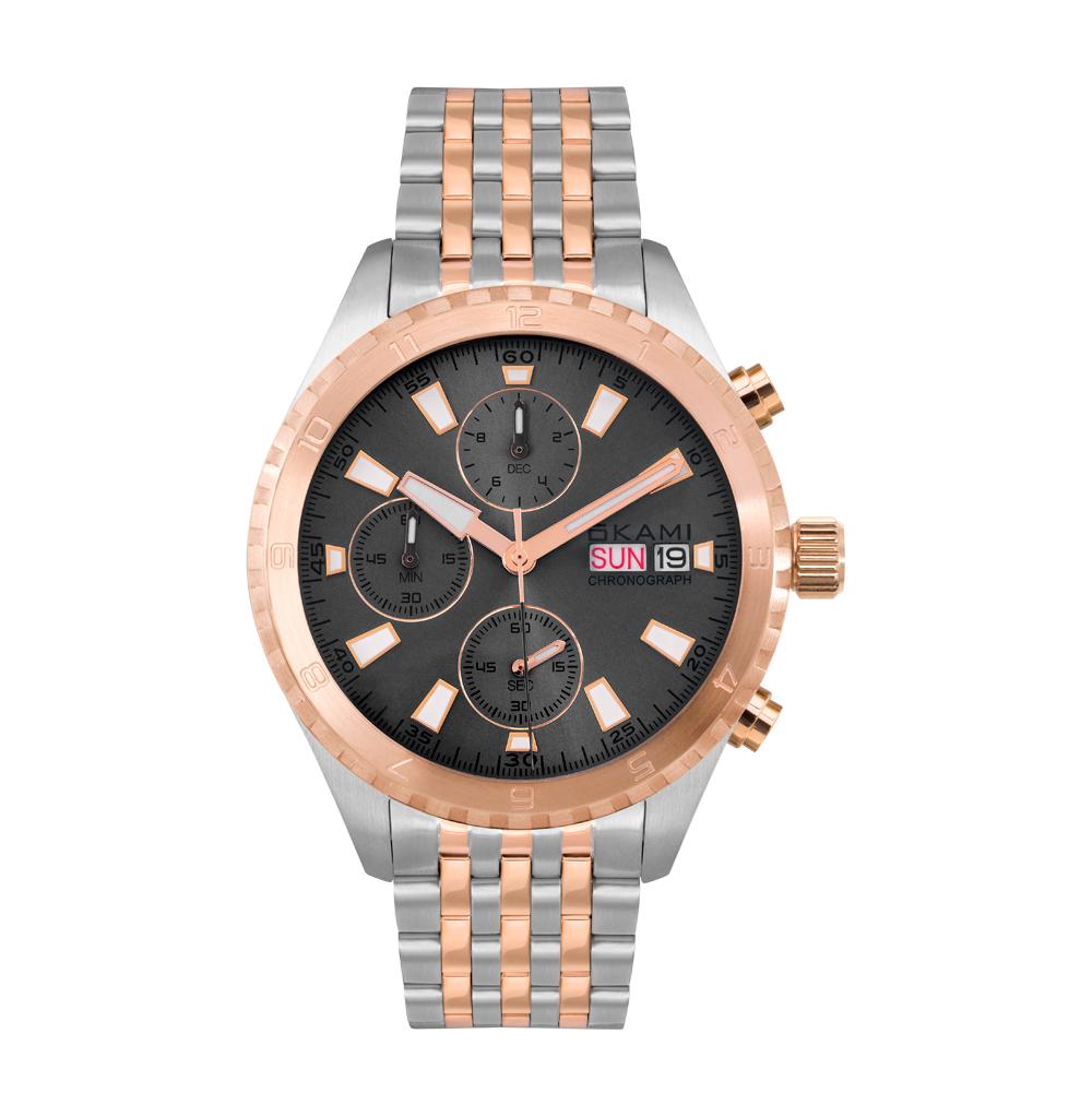 Мужские часы с хронографом и календарем на стальном браслете