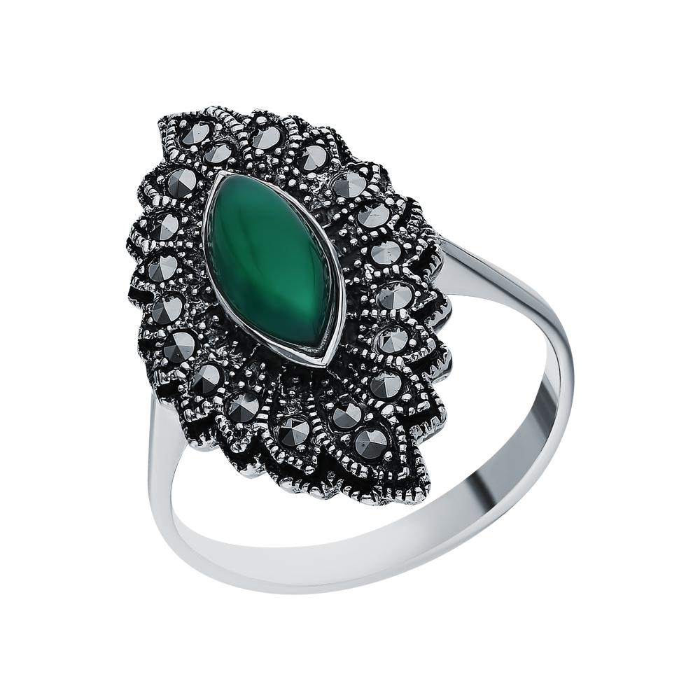 Фото «Серебряное кольцо с хризопразами и марказитами swarovski»