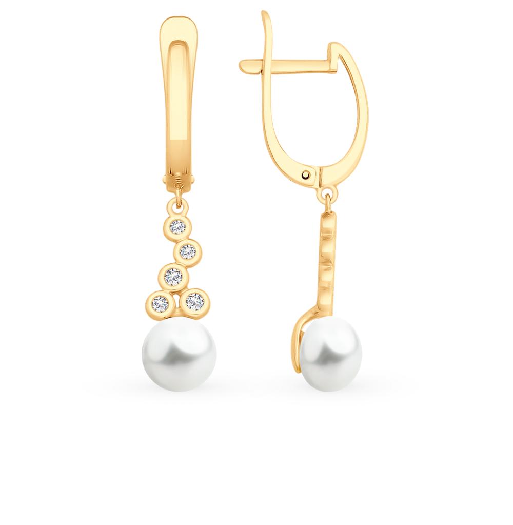 Фото «Золотые серьги с фианитами и жемчугом SOKOLOV 792113*»