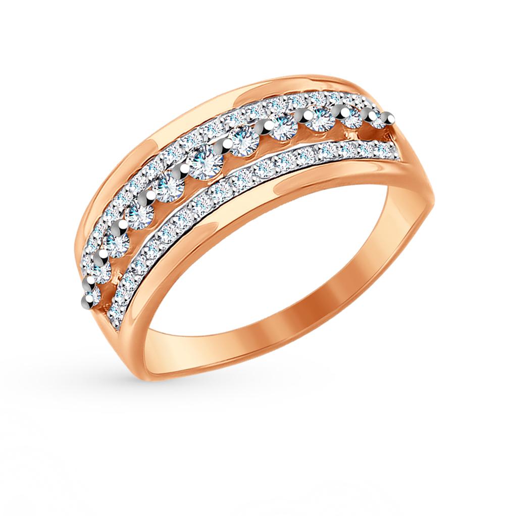 золотое кольцо с фианитами SOKOLOV 017642*