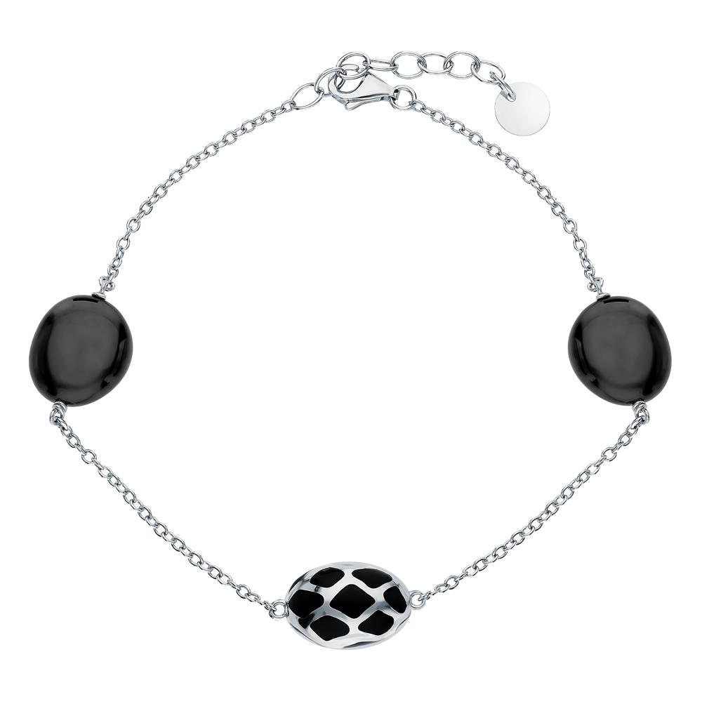 Фото «Серебряный браслет с керамикой и эмалью»