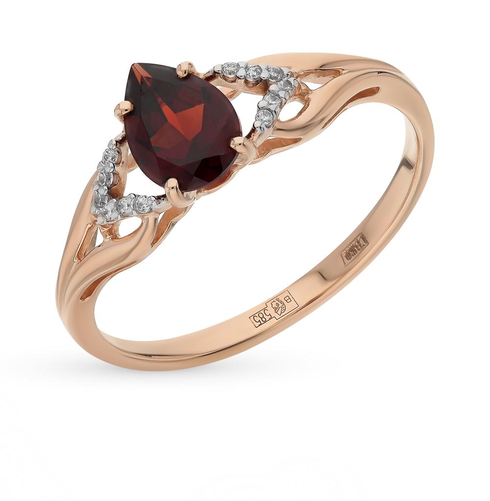 золотое кольцо с фианитами и гранатом SOKOLOV 713829*