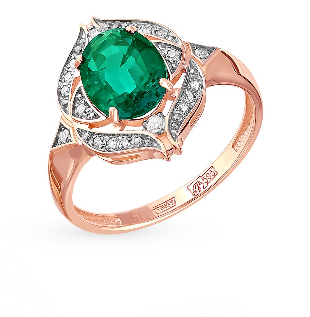 Золотое кольцо с изумрудом и бриллиантами в Санкт-Петербурге