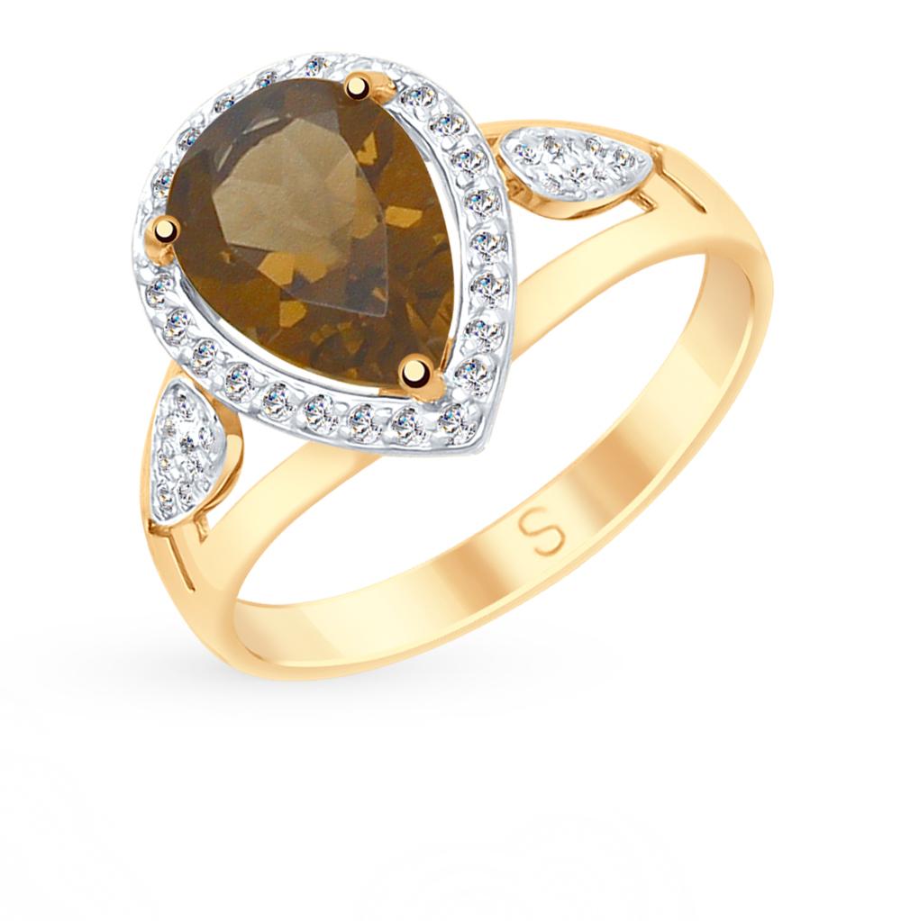 золотое кольцо с раухтопазами и фианитами SOKOLOV 715173