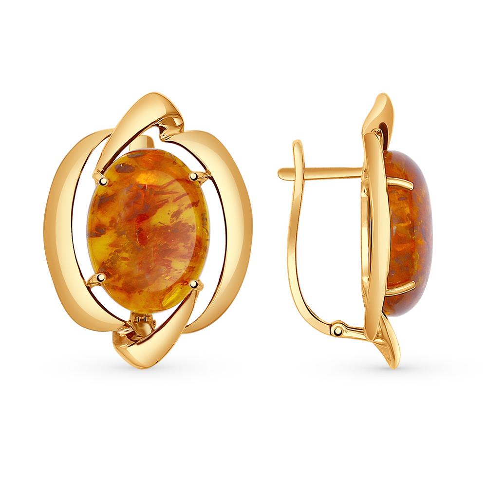 золотые серьги с янтарем SOKOLOV 724514*