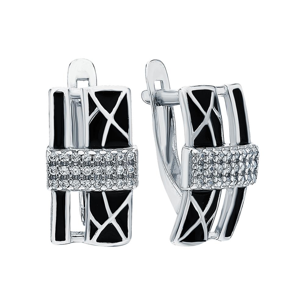 Фото «Серебряные серьги с эмалью и кубическими циркониями»