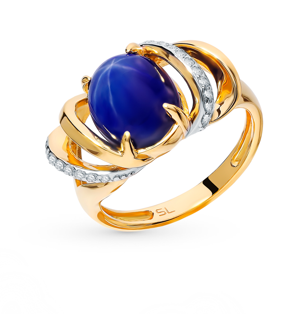 Золотое кольцо с звездчатым сапфиром и бриллиантами в Санкт-Петербурге