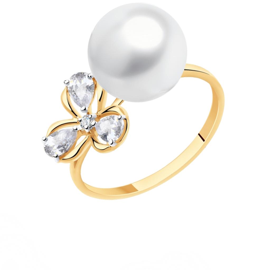Золотое кольцо с топазами, фианитами и жемчугом SOKOLOV 791165* в Екатеринбурге