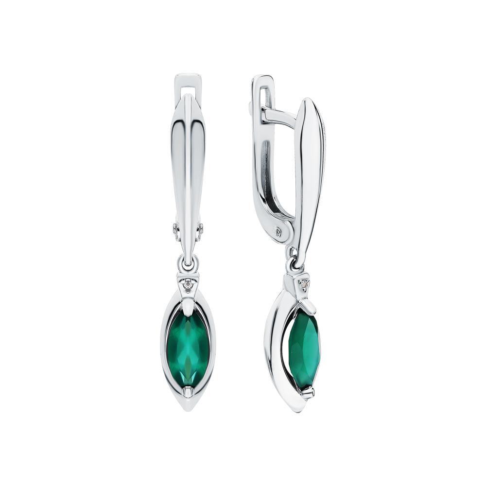 Фото «Серебряные серьги с агатом и бриллиантами»