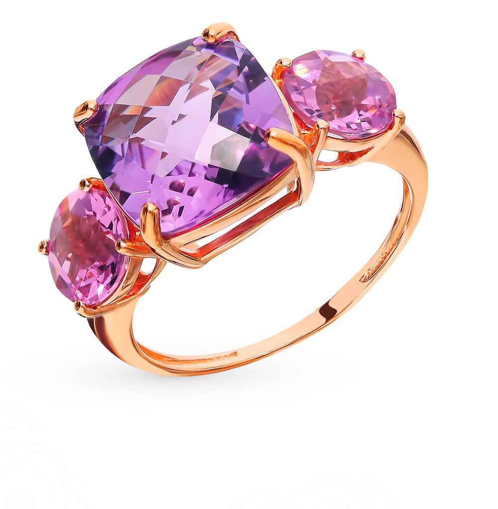 Фото «Золотое кольцо с аметистом и кунцитами»