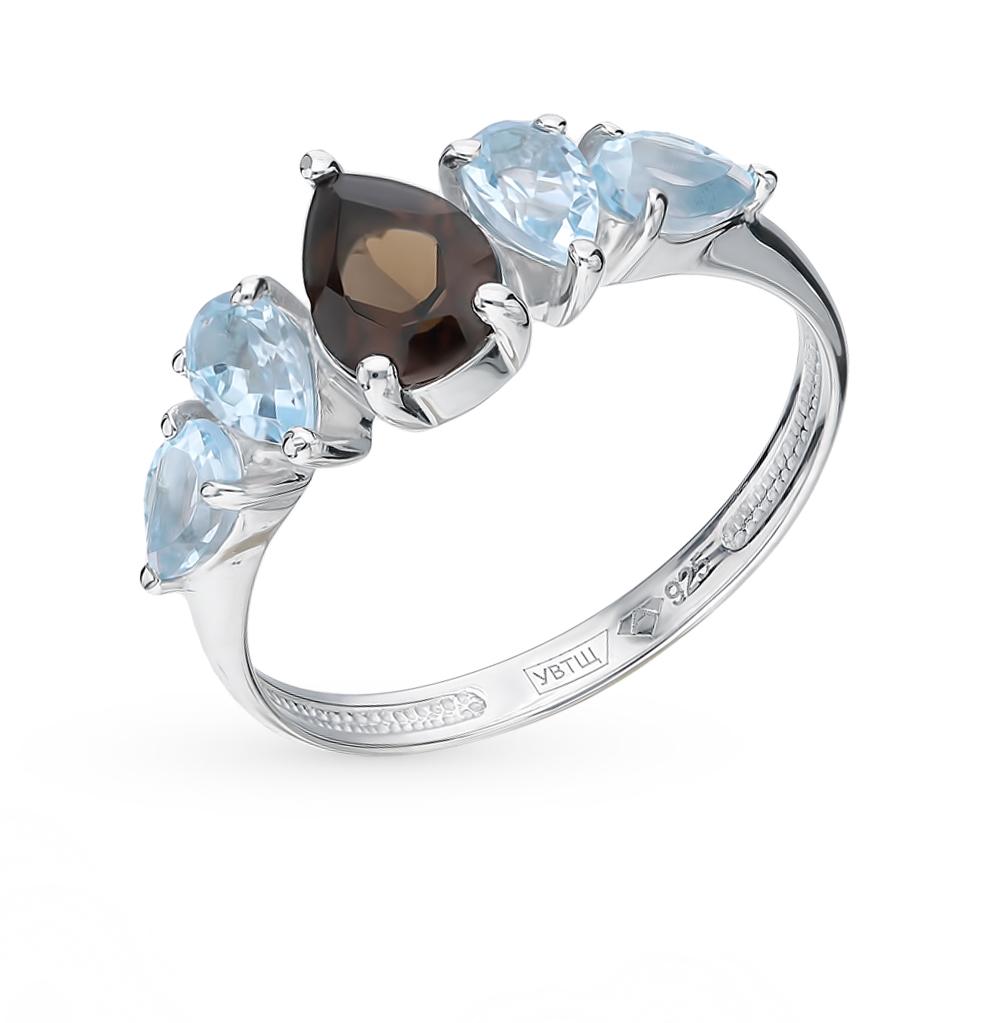 серебряное кольцо с топазами и раухтопазами (кварцами дымчатый)
