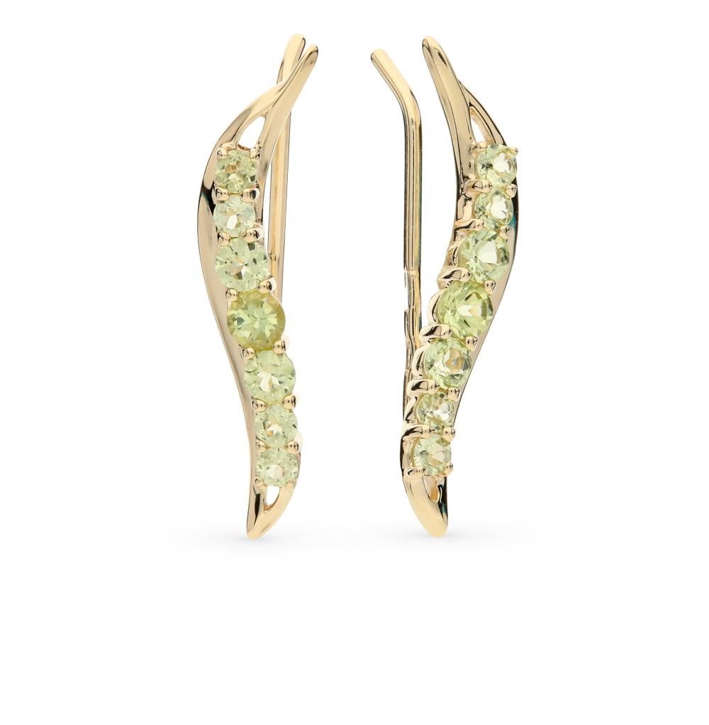 Фото «золотые серьги с хризолитом»