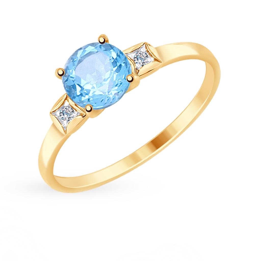 золотое кольцо с топазами и фианитами SOKOLOV 714925*