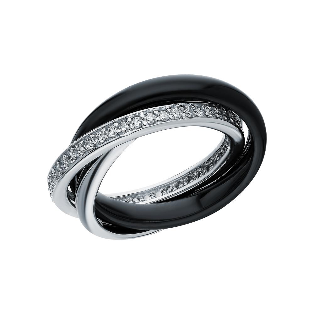 Серебряное кольцо с керамикой и фианитами в Санкт-Петербурге