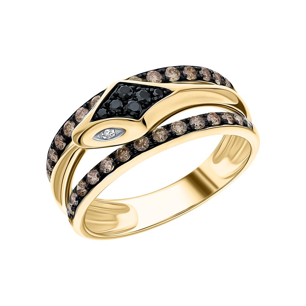 Золотое кольцо с чёрными и коньячными бриллиантами в Екатеринбурге