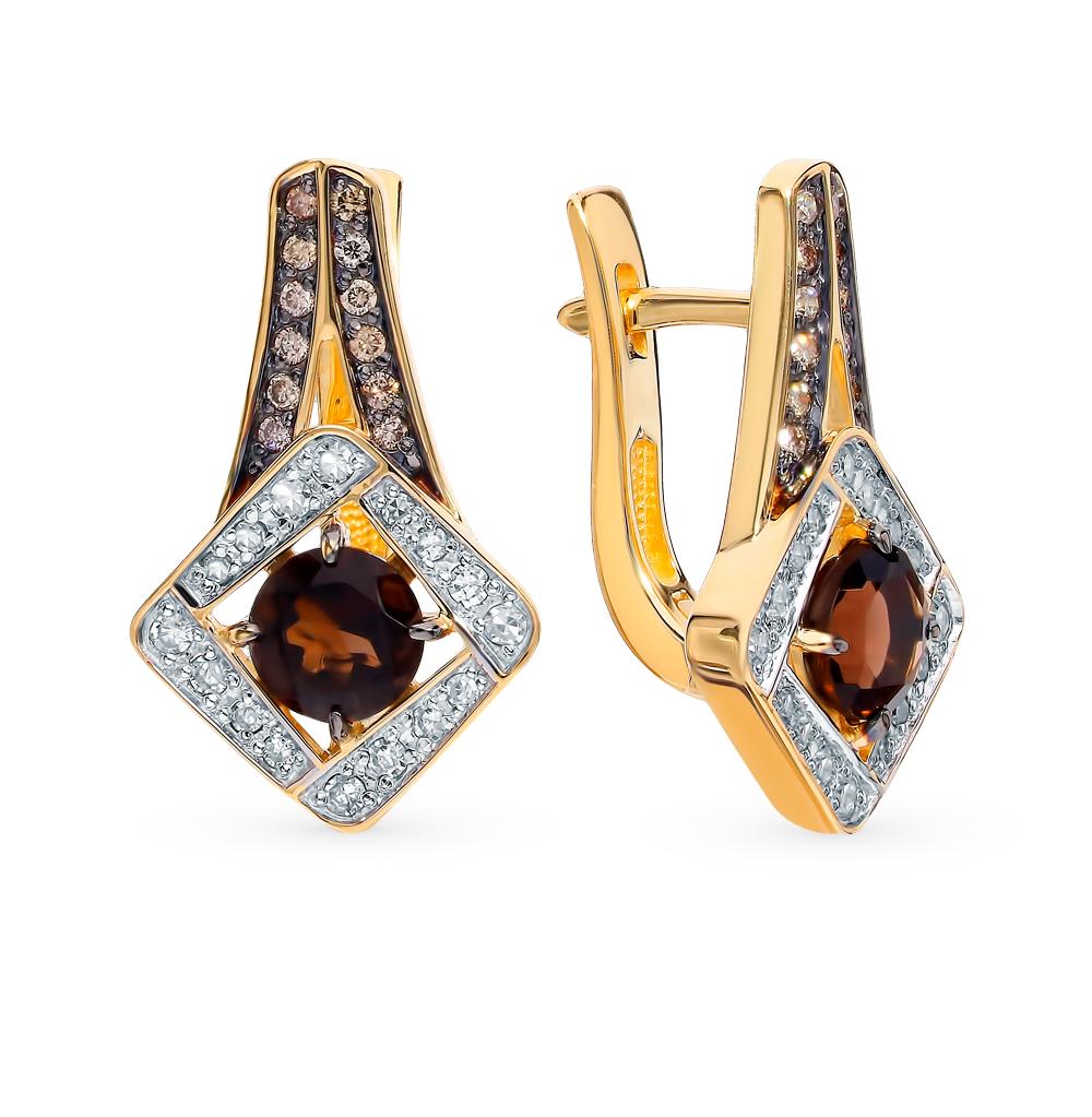 Золотые серьги с коньячными бриллиантами и раухтопазами