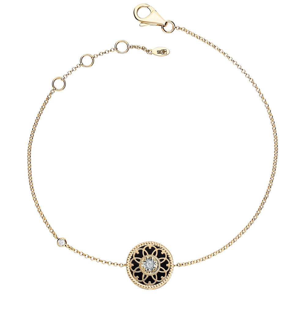 золотой браслет с агатом и бриллиантами