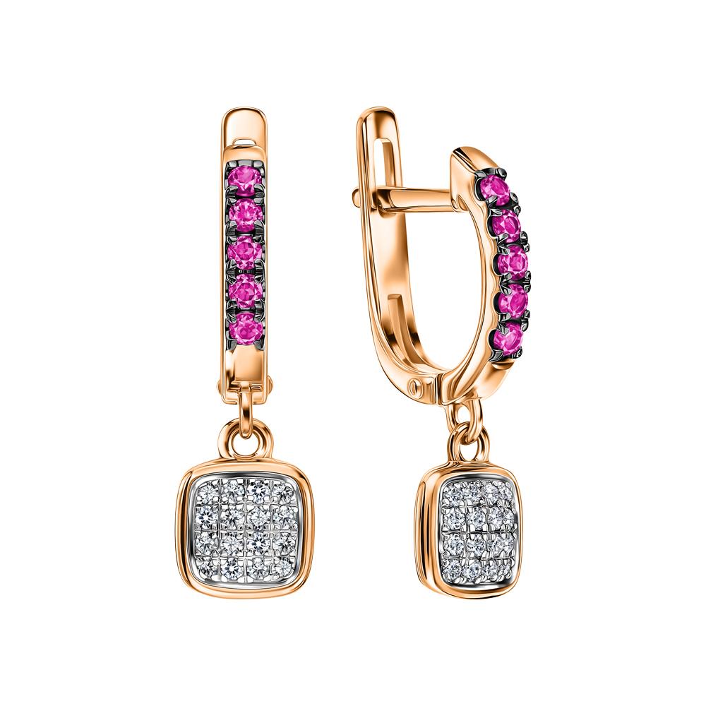 Фото «Золотые серьги с рубинами синтетическими и бриллиантами»
