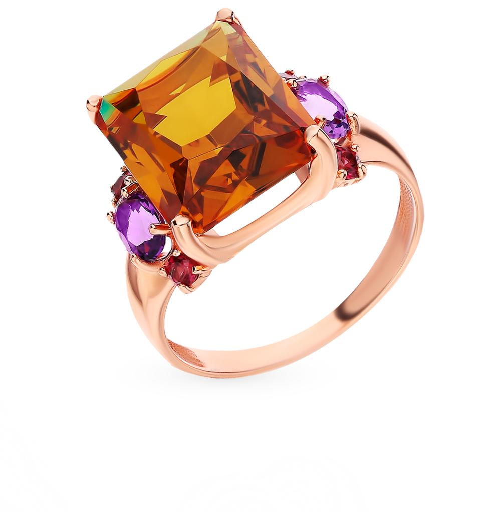 золотое кольцо с родолитами, аметистом и ситаллами