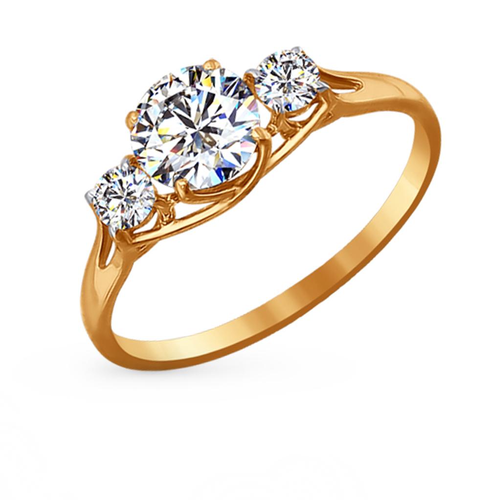 Фото «Золотое кольцо с фианитами SOKOLOV 81010192*»
